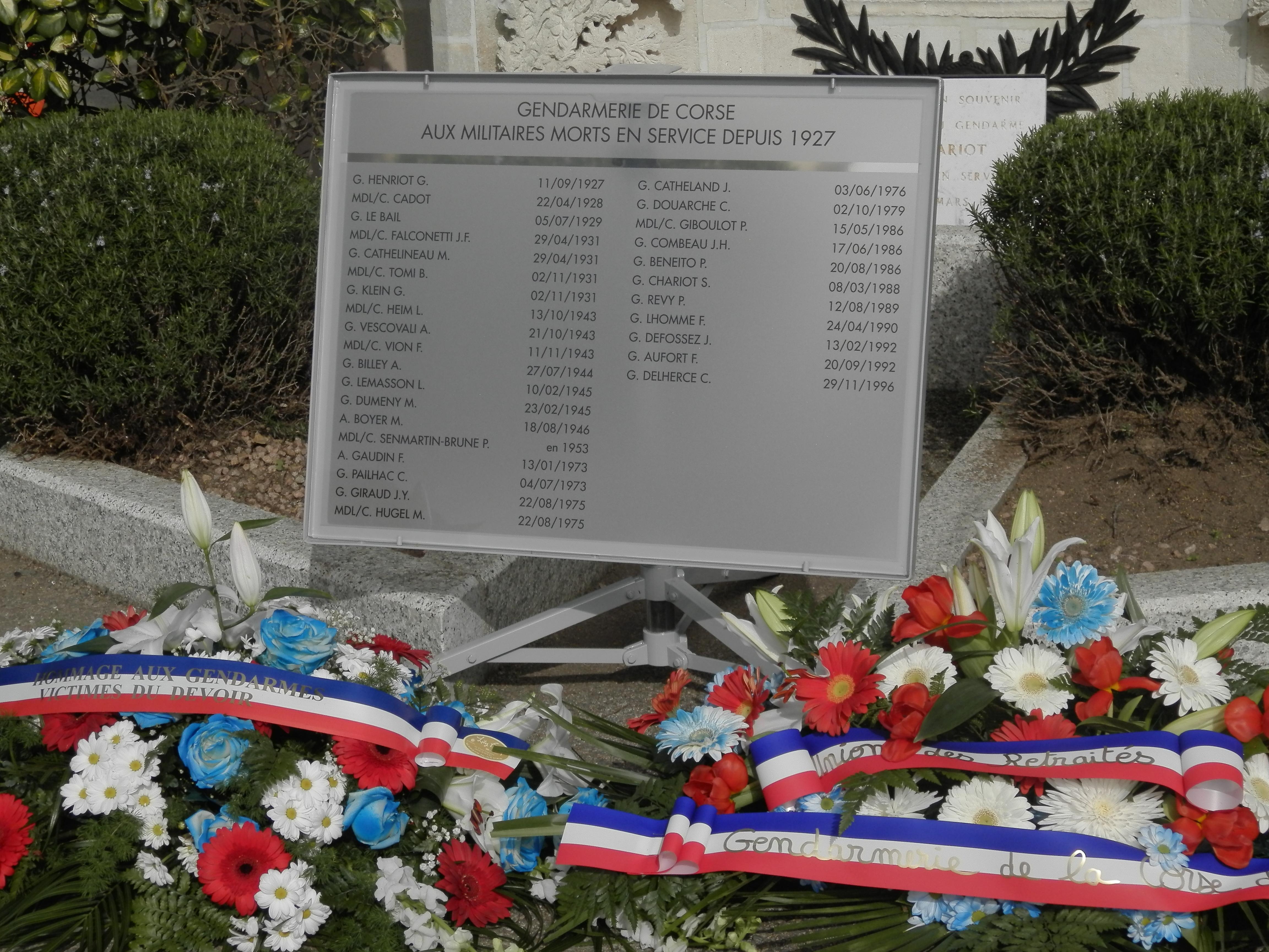 Ajaccio : Hommage aux morts de la Gendarmerie