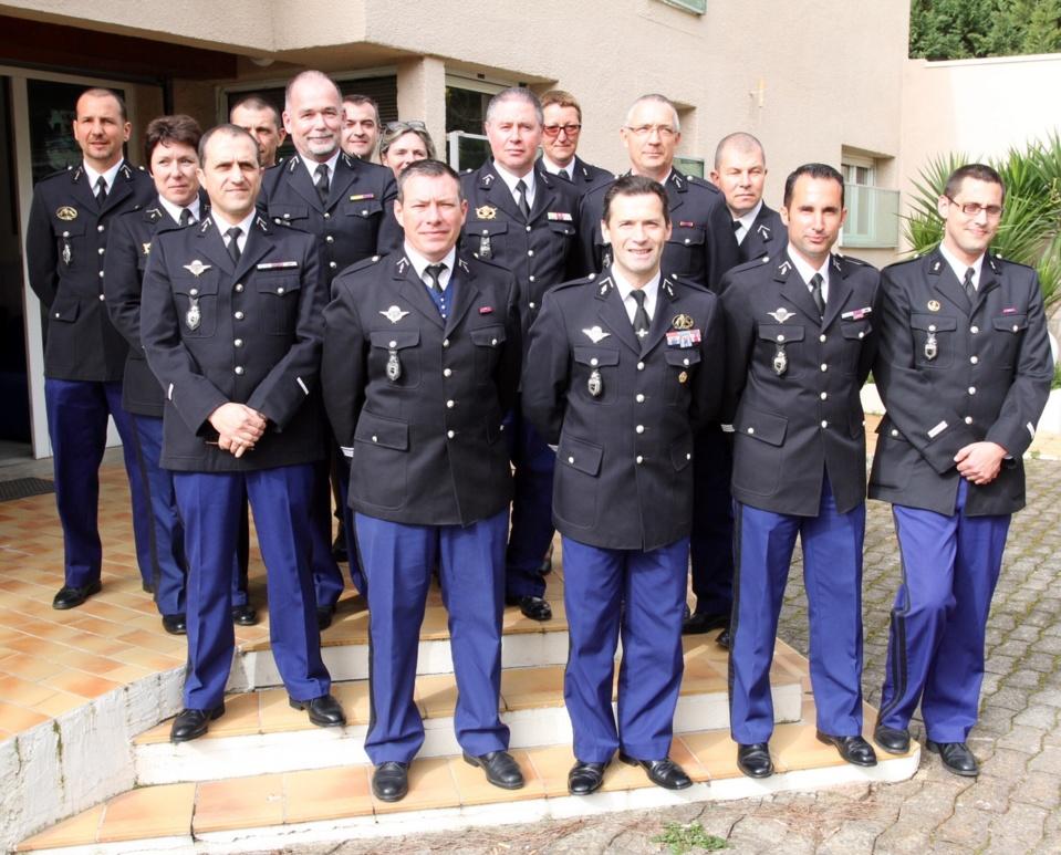 Les commandants des différentes unités inspectées par le Colonel Didier Rahmani Commandant le Groupement de gendarmerie de la haute corse. (Photo Stéphane Gamant)