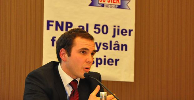 Roccu Garoby, membre du PNC Ghjuventu, collaborateur du groupe Verts-ALE au Parlement européen, président de la section jeunes de l'Alliance Libre Européenne (ALE).