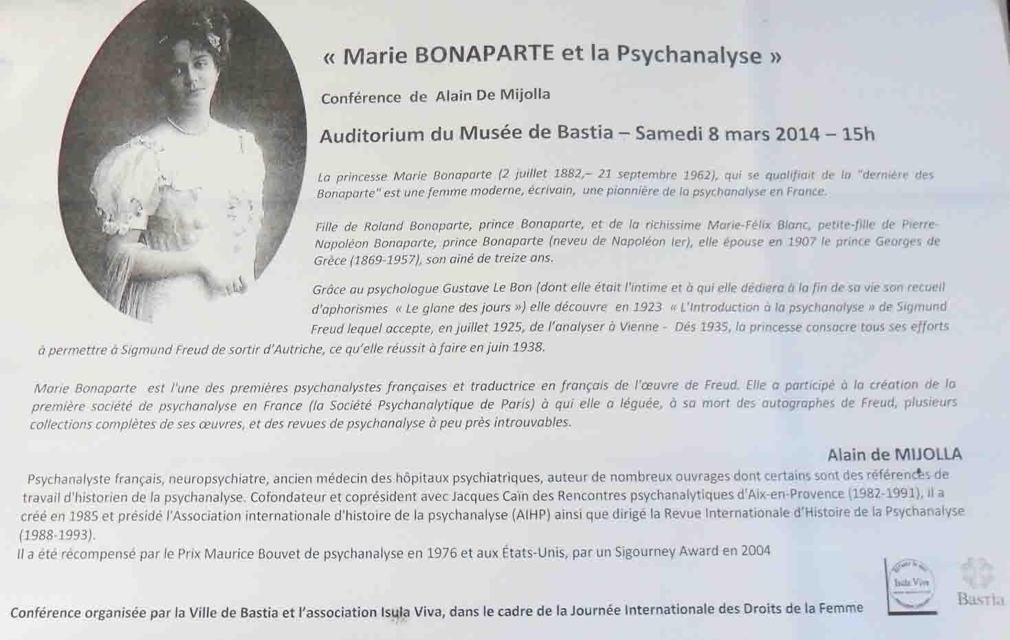 Musée de Bastia : Marie Bonaparte et la Psychanalyse par Alain de Mijolla