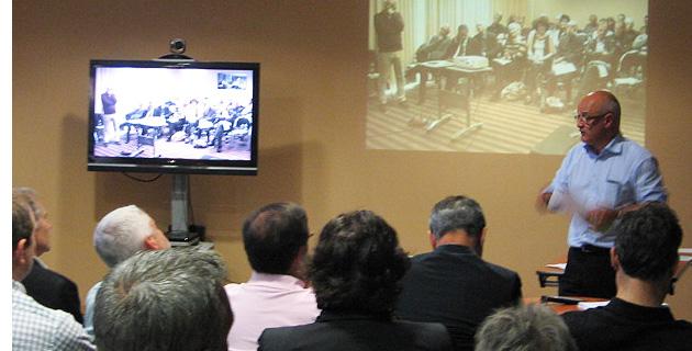 Jean-Nicolas Antoniotti, président du Conseil de Surveillance de Femu Qui et visioconférence à Ajaccio pendant l'A.G.E