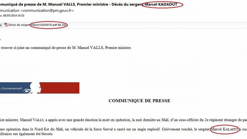 Nom  du  soldat tué au Mali : Quand Matignon s'emmêle les pinceaux…