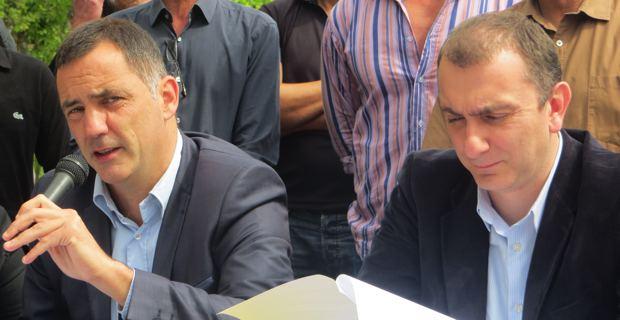 Les deux leaders et élus territoriaux de Femu a Corsica, Gilles Simeoni, maire de Bastia, et Jean Christophe Angelini, conseiller général de Porto Vecchio.