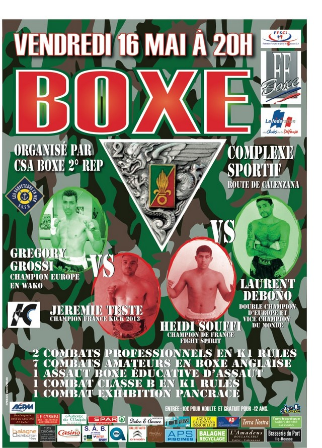 Soirée de boxe exceptionnelle ce vendredi proposé par le CSA du 2e REP de Calvi