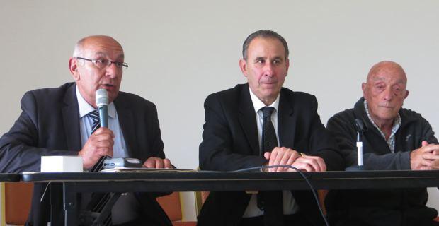 Pierre-Marie Mancini, Ange-Pierre Vivoni et Louis Sabini, maire d'Olmeta-di-Tuda.