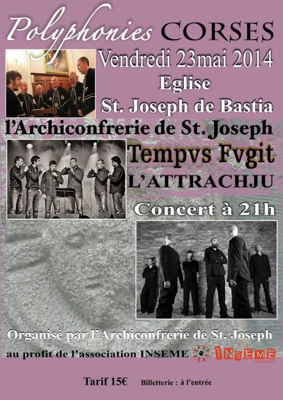 Bastia : Concert de Tempvs Fvgit et l'Attrachju au profit d'INSEME