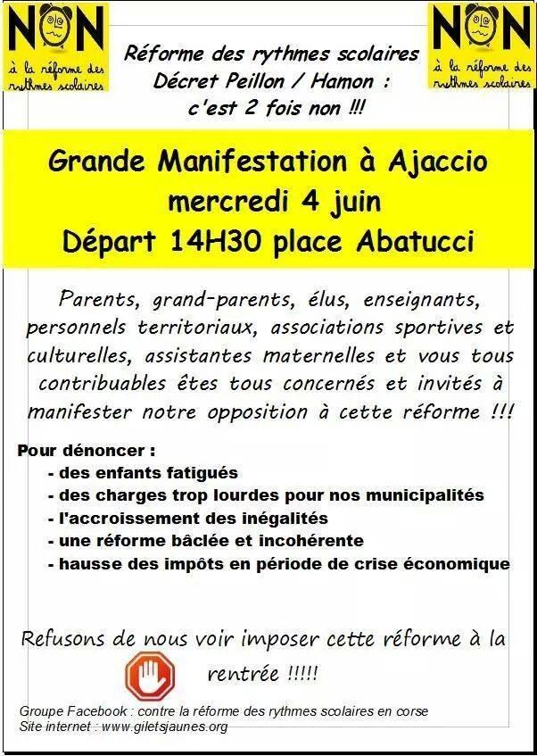 Ajaccio : Les parents appellent à manifester contre la réforme des rythmes scolaires