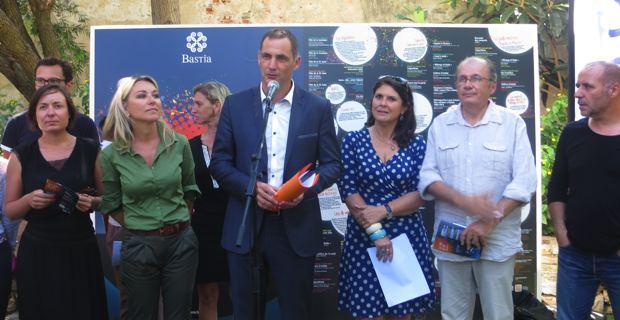 Le maire de Bastia, Gilles Simeoni, entouré de Linda Piperi, adjointe déléguée au développement économique, au marketing territorial et à l'animation, Mattea Lacave, adjointe déléguée à la culture, et Philippe Peretti, adjoint délégué au patrimoine.
