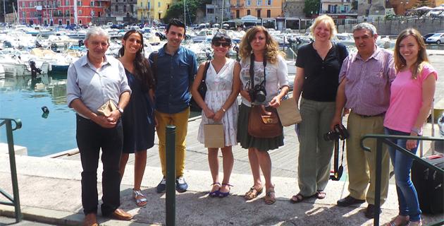 Les journalistes espagnols en compagnie de Josian Calloni et Chantal Boquel