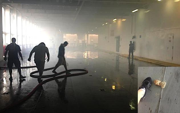 A bord du Jean-Nicoli : Atmosphère enfumée et projectiles. (Photos DR)