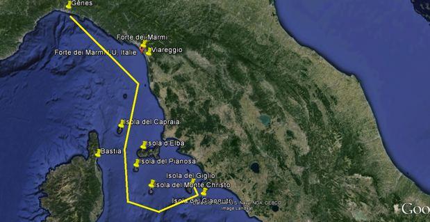 L'itinéraire prévu pour le remorquage de l'épave du Costa Concordia de l'île italienne de Giglio au port de Gènes.