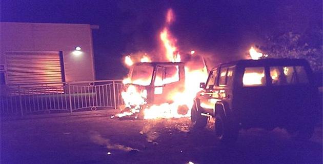 Véhicules et remorque incendiés sur le parking du garage Peugeot à la ZA de Corbara