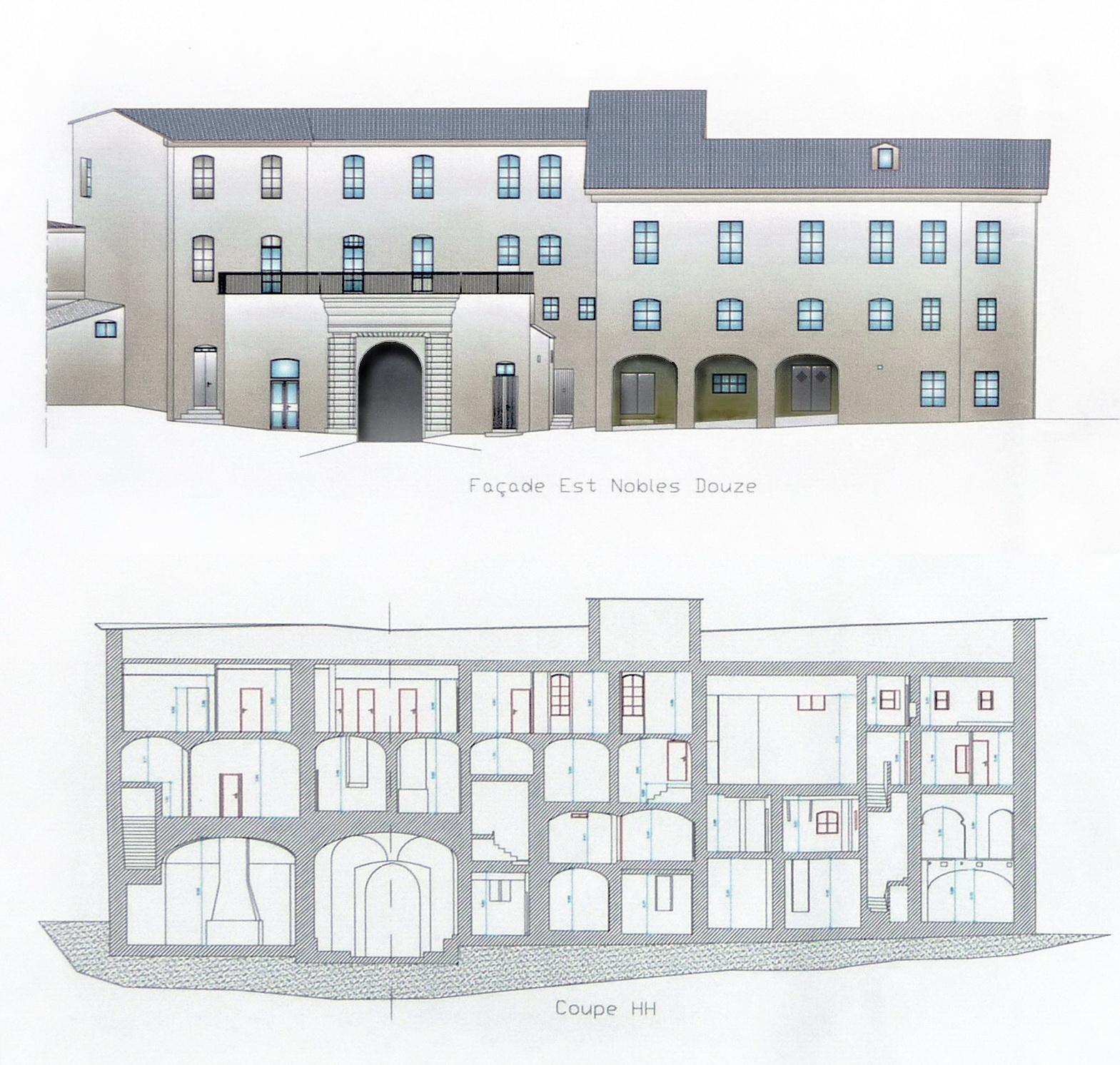 """Construit à partir de 1703 à l'emplacement de boutiques, le pavillon des Nobles Douze était le siège des représentants élus du """"Deçà des monts"""" (l'actuelle Haute-Corse), délégué auprès du Gouverneur génois. Le bâtiment abrite aujourd'hui la Direction du Patrimoine de la Ville. ©documentation Ville de Bastia – DGST – d'après les relevés du cabinet CITS."""