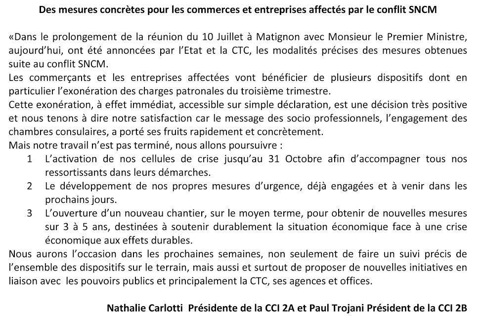 Le dispositif exceptionnel pour les entreprises corses affectées par la grève de la SNCM est en place
