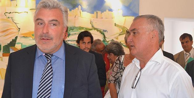 Frédéric Cuvillier en compagnie de Gérard Romiti, président du comité régional des pêches (Alcudina.fr)