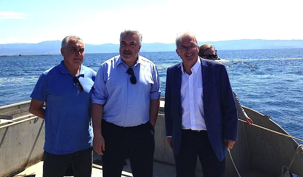 Gérard Romiti, Frédéric Cuvillier et Philippe Riera, président de la société Gloria Maris Corsica