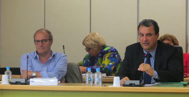 MIchel Rossi, maire de Ville di Pietrabugno et premier vice-président de la CAB, chargé de la politique de l'eau et de l'assainissement, et François Tatti, président de la CAB, conseiller municipal bastiais et conseiller territorial.