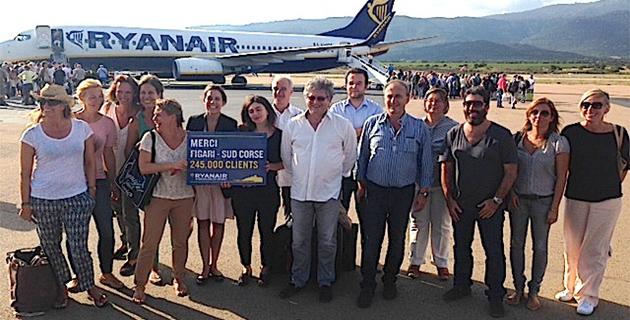Ryanair a transporté son 245 000 ème passager à l'aéroport de Figari Sud-Corse