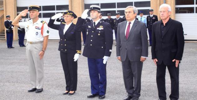 Prise d'armes à la gendarmerie de Calvi pour la prise de commandement du capitaine Olivier Burles