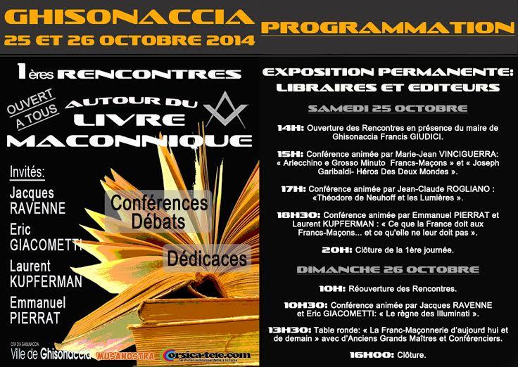 Ghisonaccia : Les premières rencontres en Corse du livre maçonnique