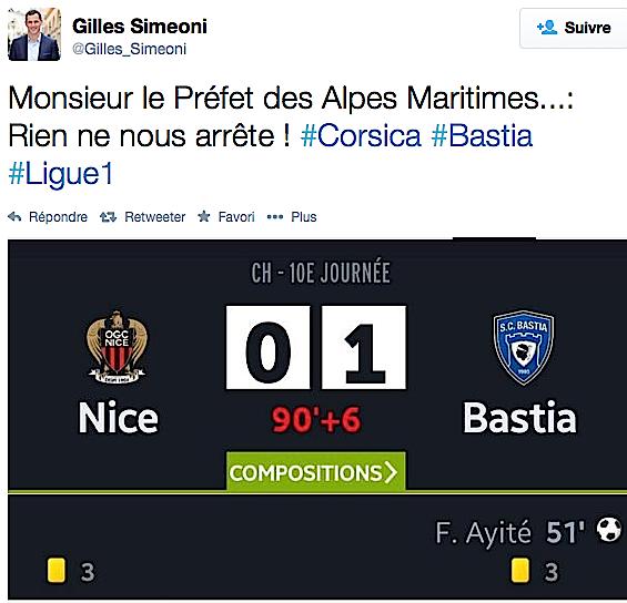 Gilles Simeoni : Nice-Bastia en deux tweets