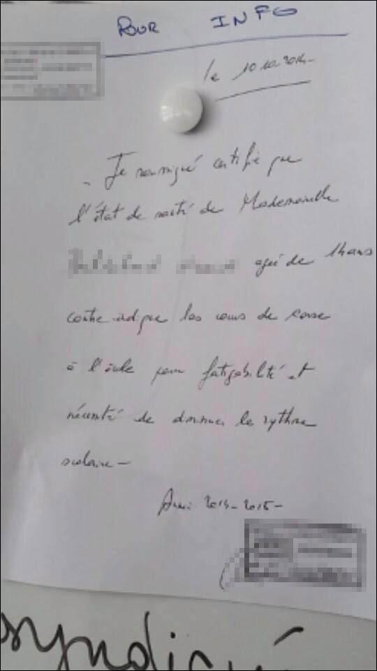 Un certificat médical délivré pour dispenser un élève balanin de cours de… Corse !