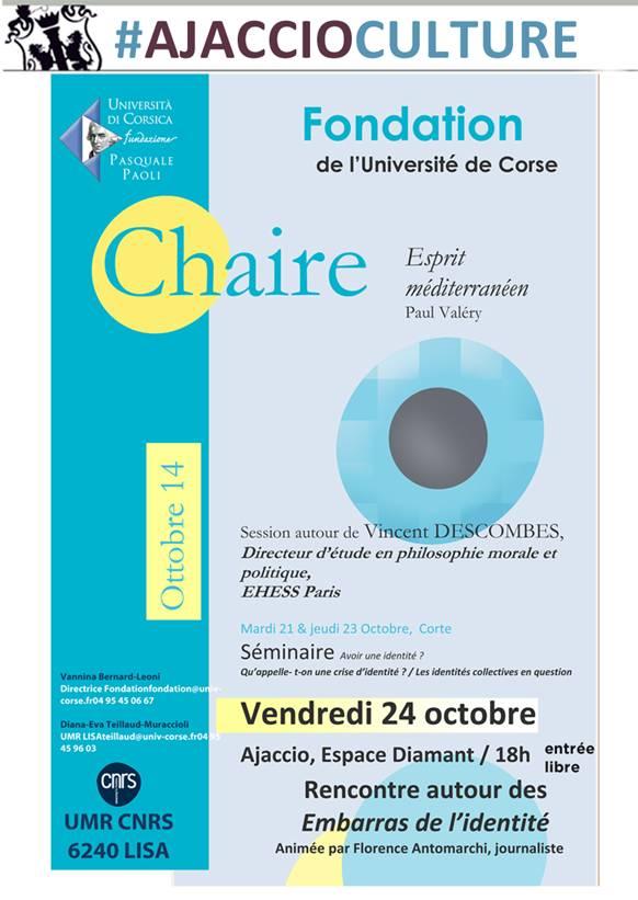 Chaire Esprit Méditerranéen - Session sur l'identité avec le philosophe avec Vincent Descombes
