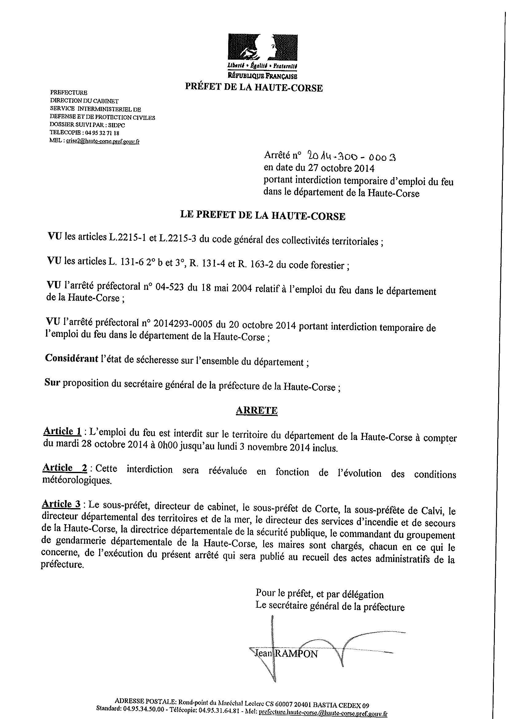 Corse : Interdiction de l'emploi du feu prorogée jusqu'au 3 Novembre