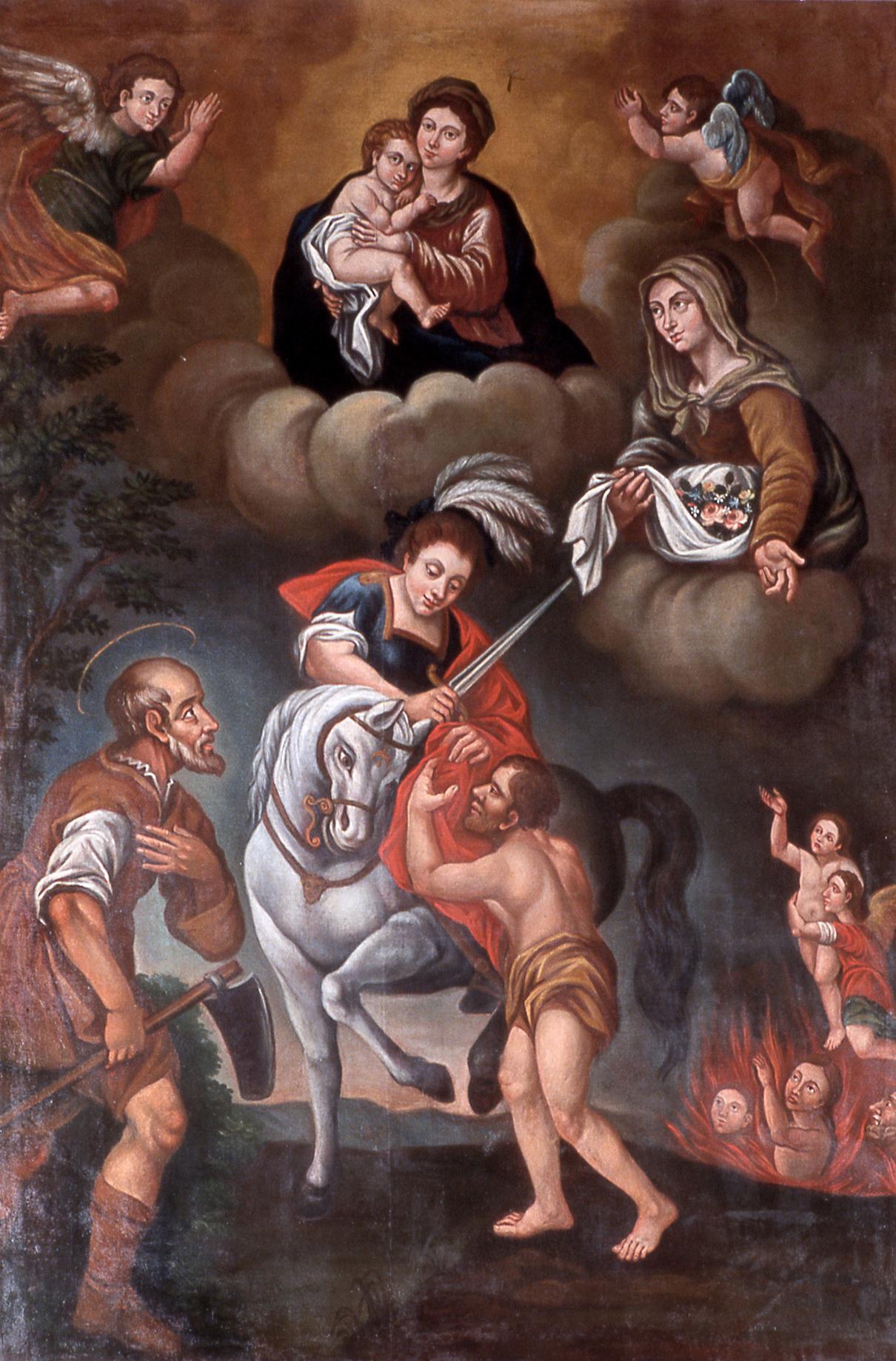 Le tableau d'autel des vignerons de Terranova : La charité de Saint Martin, entouré de Sainte Zita de Lucques, patronne des jardiniers, et de Saint Isidore de Madrid, le laboureur. Peint par Anton Benedetto Rostino (1750-1821). Eglise Sainte-Marie.