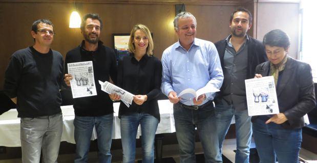 François Alfonsi, président de l'Alliance Libre européenne (ALE), membre de Femu a Corsica, maire d'Osani, entouré notamment de Fabienne Giovannini, conseillère territoriale, et de Jean-Baptiste Arena, maire-adjoint de Patrimoniu.