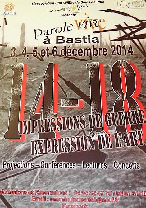 """Bastia : Parole Vive présente """"14-18 Impressions de guerre, expression de l'art"""""""