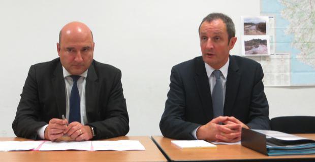 Nicolas Bessone, procureur de la République près du Tribunal de grande instance de Bastia, et Alain Rousseau, préfet de Haute-Corse.
