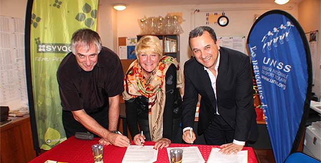 André Giudicelli, directeur du service régional de l'Unss de Corse et Joëlle Moellic, conseillère technique Unss pour l'inspection académique de la Haute-Corse et François Tatti, président du Syvadec