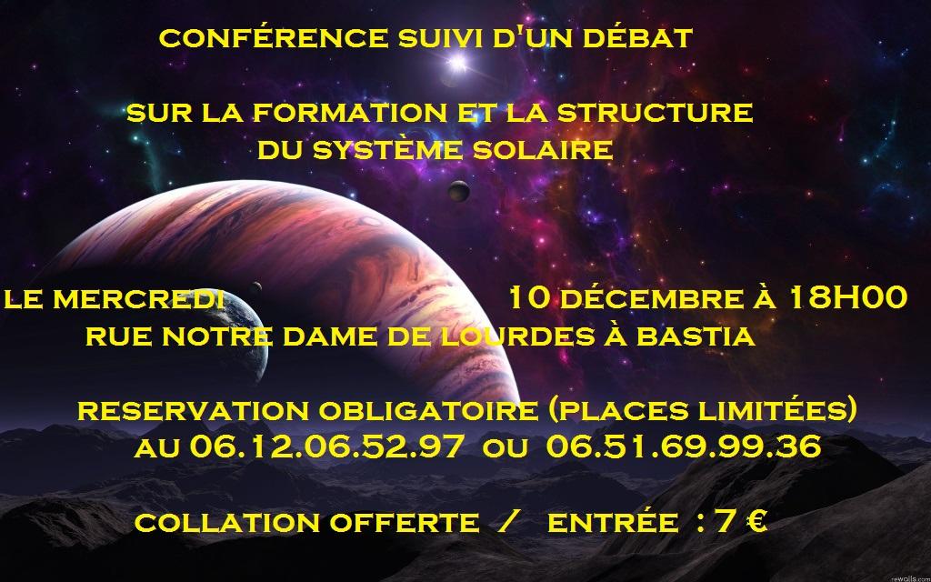 Bastia : Conférence sur la formation et la structure du système solaire