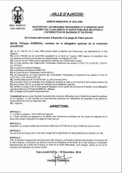 Levée de l'arrêté municipal d'interdiction de pêche et de baignade à Ajaccio