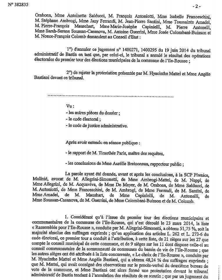 Municipales de L'Ile-Rousse : Le Conseil d'Etat a rejeté le recours du maire