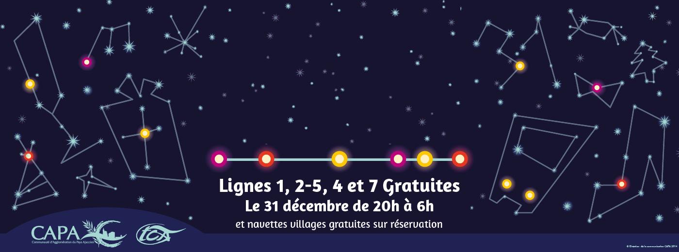 Les lignes de bus 1, 2, 5, 4 et 7  gratuites pour la nuit du 31 décembre à Ajaccio