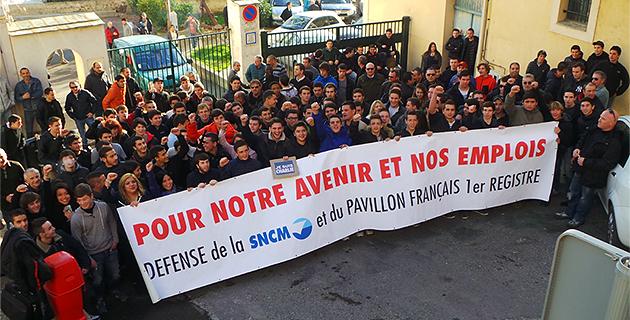 SNCM : Mobilisation devant le lycée maritime de Bastia