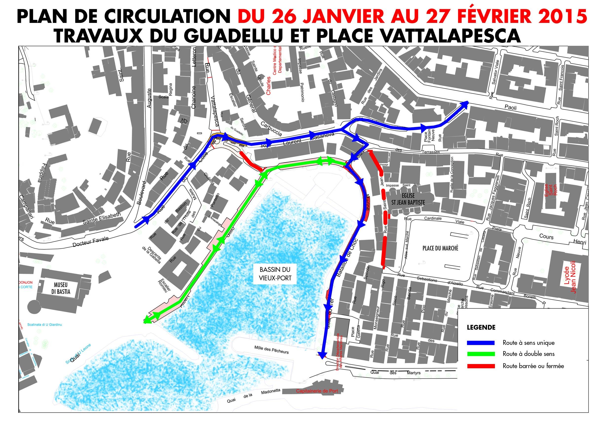 Bastia : Travaux du Guadellu et de la place Vattalapesca, un plan de circulation mis en place