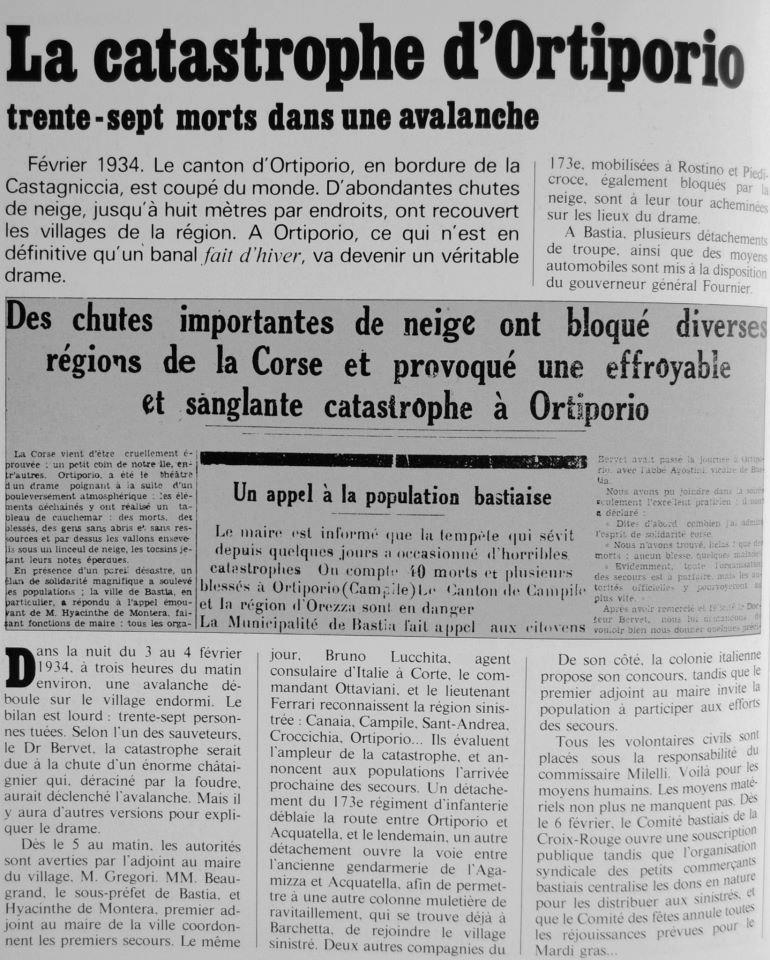 Ortiporiu : 37 morts dans une avalanche dans la nuit du 3 au 4 Février 1934