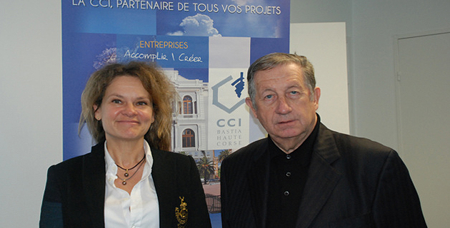 Evelyne Faure, country manager France de Flybe et Paul Trojani, président de la CCI