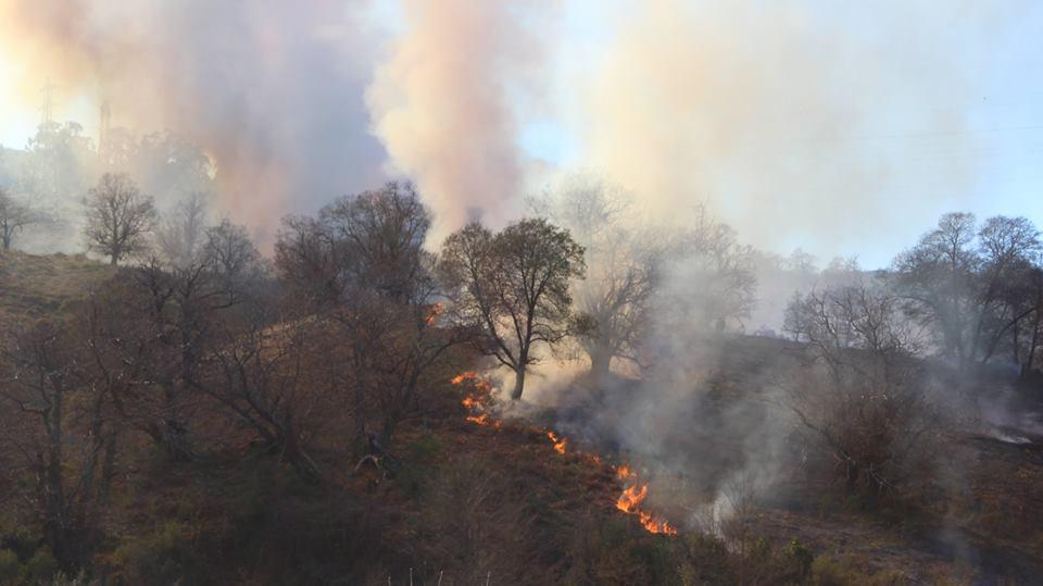 Les flammes sur le sentier San Michele