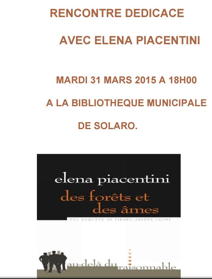 Solaro : Rencontre-dédicace avec Elena Piacentini