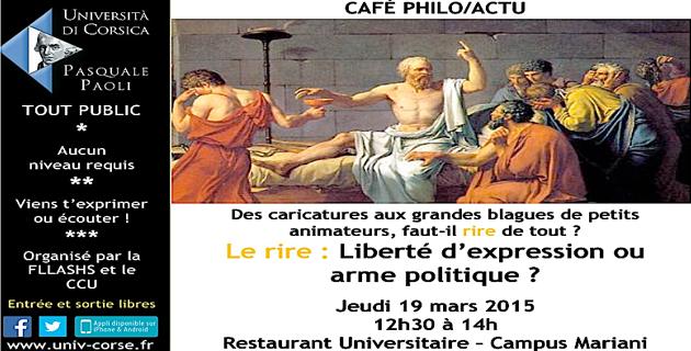 """Café-philo à l'Université : """"Le rire, liberté d'expression ou arme politique?"""""""