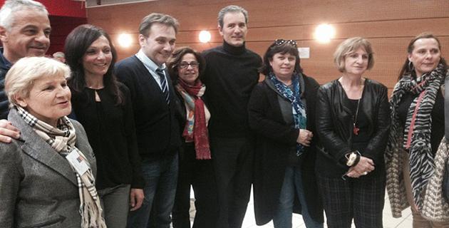 Michel-Edouard Nigaglioni (4e en partant de la gauche) entouré des membres de la ligue contre le cancer