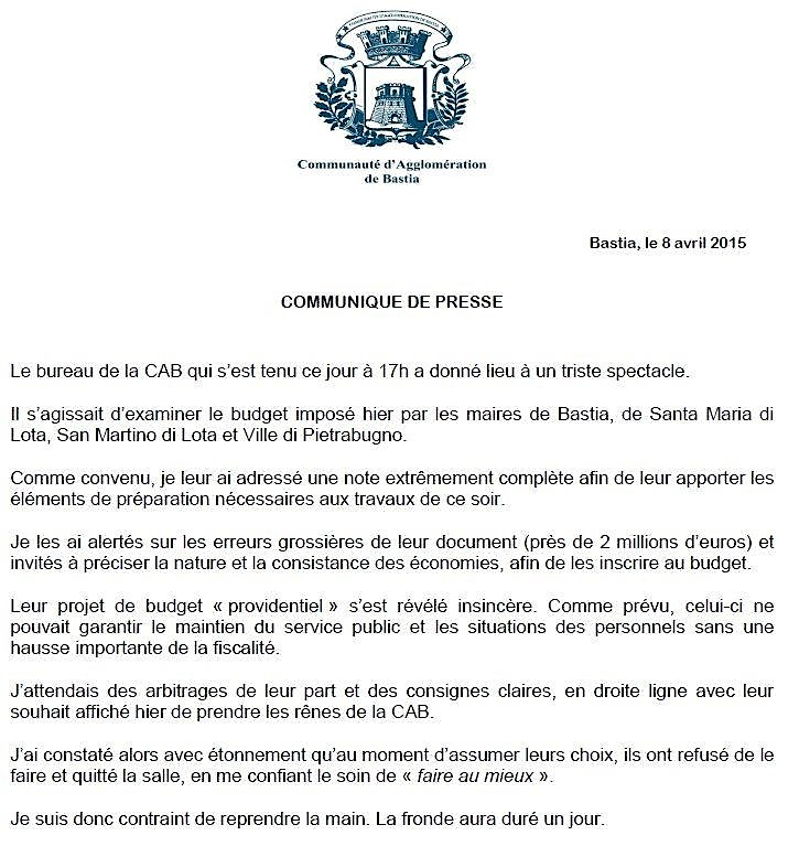 François Tatti-Maires de la CAB : C'est reparti !