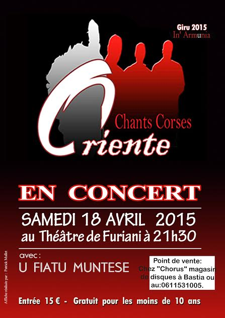 Oriente en concert le 18 avril à 21h30 au Théâtre de Furiani