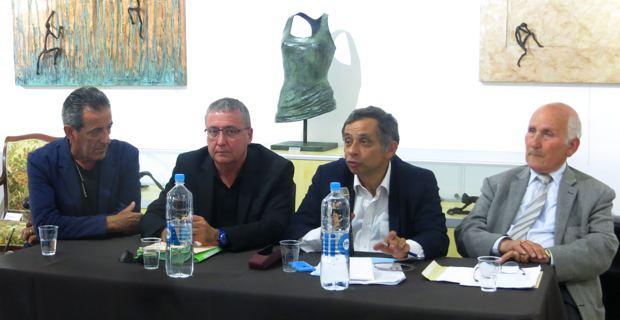 Gabriel Diana, peintre-sculpteur, propriétaire du Dian'Art Musem, Henri Apiccella, président du Collectif Marana 2014, Henri Malosse, président du Conseil économique et social européen (CESE), et Fabien Paoli, président de Moby Lines.