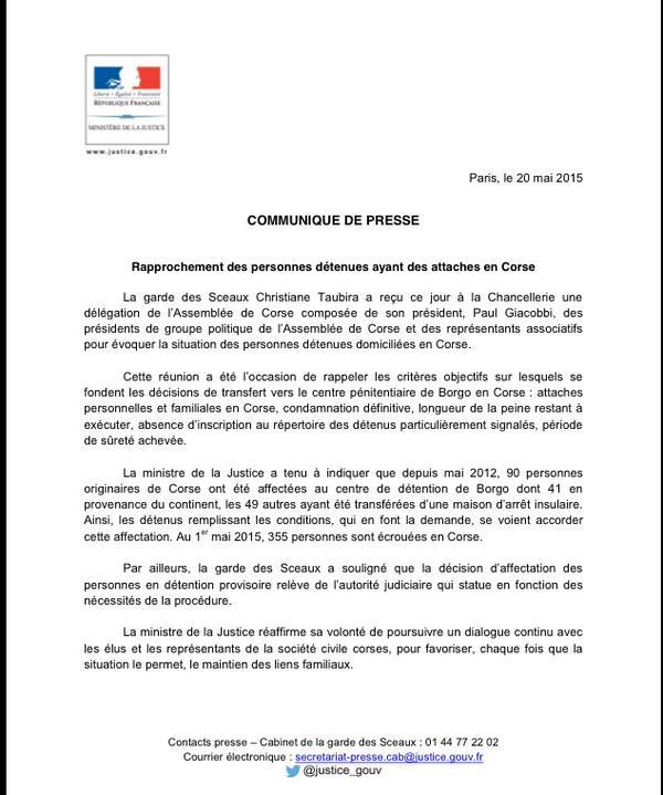 Rapprochement des détenus et loi d'amnistie : Un « dialogue ouvert » entre Christiane Taubira et la délégation corse