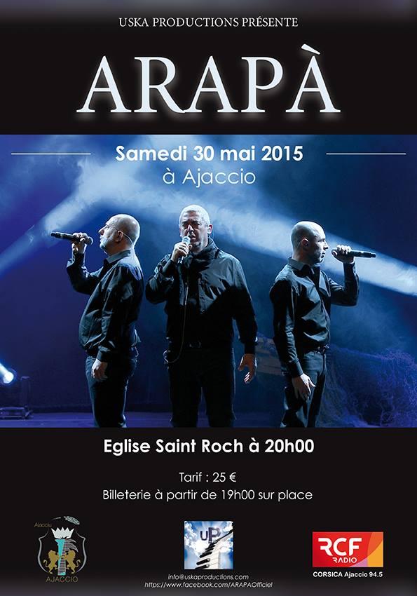 Ajaccio : Le groupe Arapà en concert à l'église Saint-Roch samedi